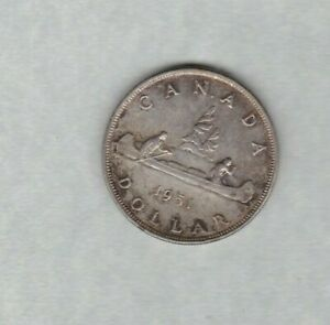 CANADA 1951 THREE WATER LINES SILVER DOLLAR IN GOOD EXTREMELY FINE CONDITION