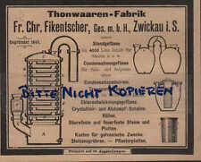 ZWICKAU, Werbung / Anzeige 1902,Fr.Chr.Fikentscher Thonwaaren-Fabrik Standgefäße