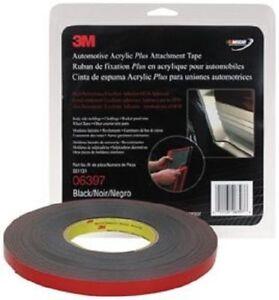 3M 06397 Automotive Acrylic Plus Attachment Tape, Black, 1/2 In X 10 Yds