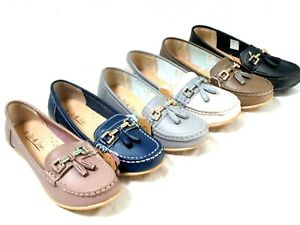 LADIES WOMENS REAL LEATHER MOCCASIN TASSEL LOAFER FLAT SLIP ON SHOES SIZE 3 - 8