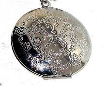 """Large Locket Necklace and chain Silver tone 18"""" long"""