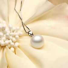 925 Sterling Silver Chic White Pearl Pendant Girl Fashion Jewelry Xmas Gift