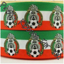 """El Tri Mexico Soccer Team 1"""" wide grosgrain ribbon 5 yards listing"""