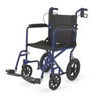 Medline Lightweight Transport Wheelchair w/Handbrakes, 12 inch Wheels, Blue