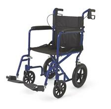 Medline Lightweight Transport Wheelchair w/Handbrakes, 12 inch Wheels, Blue