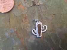 14KT White Gold Shiny Pave Diamond Cactus Pendant Charm NEW Southwest
