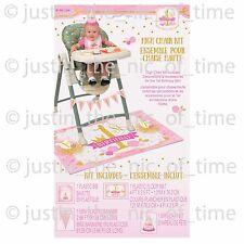 Primero 1ST cumpleaños rosa y oro niña fiesta 4 piezas Kit de Decoración de Silla Alta