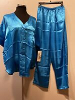 New Old Stock Nicole M Womens Silky Pajama Set Turquoise Blue Top/Pants Elegant