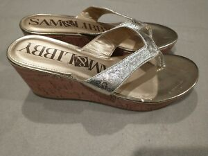 Sam & Libby Womens Fancy Flip Flops Cork Wedge Sandals Gold Glitter Size 10