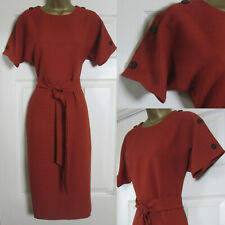 NEW Warehouse Tie Waist Shift Dress Button Detail Crinkle Rust Work 6-18 £49