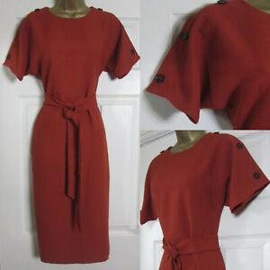 NEW Warehouse Tie Waist Shift Dress Button Detail Crinkle Rust Work 6-18 £49