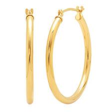 14K Yellow Gold 1 inch Hoop Earrings