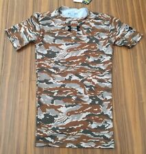 New Under Armour Mens Compression Small Camo Military Gray T Shirts Top $50