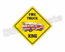 "*Aluminum* Fire Truck Crossing Funny Metal Novelty Sign 12""x12"""