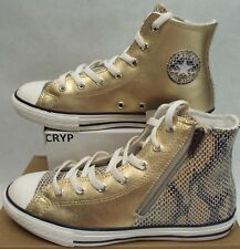 Junior 5 Converse CTAS Side Zip Split Heel Hi Metallic Glod Shoes $50 659171C
