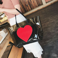 Red Heart Transparent Jelly Handbag Clear Big Shopping Tote Women Shoulder Bag