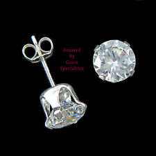6mm Round SPARKLING Clear Post Stud Earrings in SOLID 925 Sterling Silver