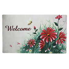 """Non-Slip Home Fashion Red Daisy Welcome Vinyl Back Painting Doormat 29""""X17"""""""