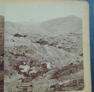 ANTIQUE STEREOVIEW PHOTOGRAPH of MINING TOWN BLACK HAWK to CENTRAL CITY COLORADO