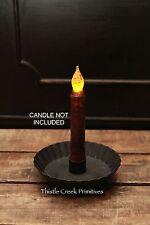 Primitive Black Metal Pan Taper Candle Holder - Rustic - Country