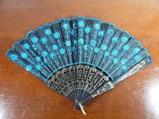 """Chinese Hand Fan Blue with Sequins 16"""" Opened"""