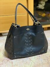 Brand New Coach Signature Zip Top Tote Shoulder Bag, Large - Brown Black