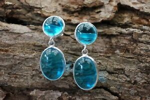 925 Sterling Silver Swiss Blue Topaz Fine Earrings Cabochon Natural Gemstone
