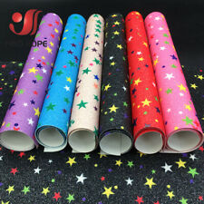 Fine Rainbow Star Glitter Fabric Sparkle Faux Leather Craft Material Bows Decor