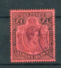 Leeward Islands KGVI 1938-51 £1 purple & black on carmine SG114a/CW13b used