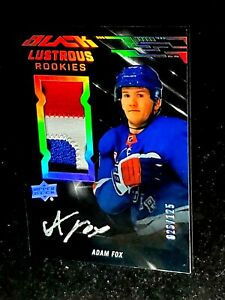 2019-20 UD BLACK ADAM FOX Lustrous Rookie Patch Autograph /125 On Card Auto LRAF