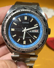 Clinton 25 Jewel Mens Watch Automatic World Time 20 ATM Divers Date Day Watch