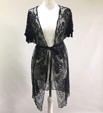Beautiful All Saints Black Embellished Lace Fringed Nataya Tailcoat Jacket, UK 8