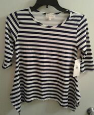 BTween Girls Shirt / Stripped / Blue and White / Size 10 / 3/4 Sleeve /Brand New