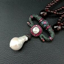 19'' 4 Strands Round Garnet Necklace White Keshi Pearl CZ Pendant