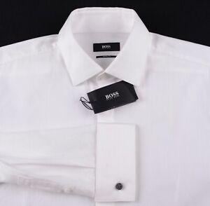 NEW Hugo Boss Solid White RIbbed Cotton Covered Placket Tuxedo Shirt 15.5 32/33