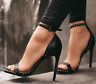 Womens Stud High Heels Stiletto Sandals Ankle Strap Open Toe Party Evening Shoes