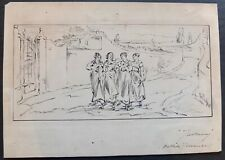"Antique Walter Shirlaw Pen & Ink Drawing ""Tuscany (Outside Florence)"" - Signed"