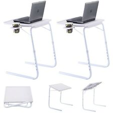 2X Table Mate Adjustable PC TV Laptop Desk Tray Home Office s/ Cup Holder White