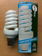 25w watt BC B22 Push In Energy Saving Spiral CFL Daylight 6400k Bulb x 10