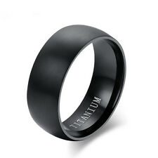 Size 11 Men's Black Titanium Steel Ring Wedding Engagement Anniversary Band RJ52