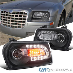 For 05-10 Chrysler 300 Black Projector Headlights Lamps w/ LED+Signal Left+Right