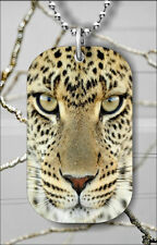 LEOPARD FACE WILD LIFE BIG CAT DOG TAG PENDANT NECKLACE FREE CHAIN -adf6Z