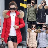 Women Winter Long Down Cotton Parka Coat Warm Fur Collar Hooded Jacket Outwear B