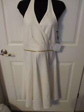 NWT - Calvin Klein Off White Jacquard Textured Halter Dress - sz 10 - MSRP $120.