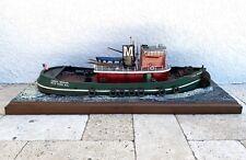 """Large Carol Moran Assembled Model Tugboat Wooden Tug Boat Hardwood Base 33"""""""