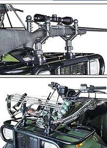 ATV Cushioned Adjustable Single Gun & Bow Rack Tool Holder Black Quadboss NEW