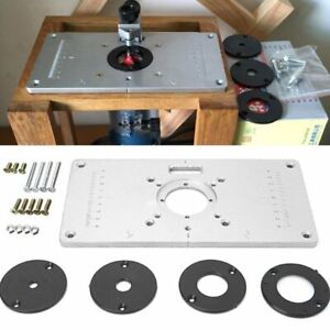 Aluminium Alloy Router Table Insert Plate Woodworking Benches with 4 Rings Tools