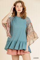 Umgee Blue Floral Print Bell Sleeve Waffle Knit Boho Top Plus Size