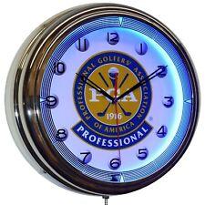 "Professional Golf Pga Blue Neon Clock Man Cave Game Room Garage Decor (16"")"