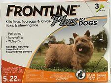 FRONTLINE Plus 5-22 lbs Dog Flea & Tick Medicine Small Orange Box 3 Month Supply